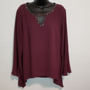 Juicy Couture Plum Cut Out Bell Sleeve Blouse